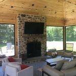 indoor stone fireplace